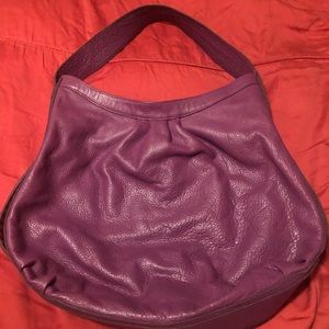 Bryna Nicole purple leather bag with gold details